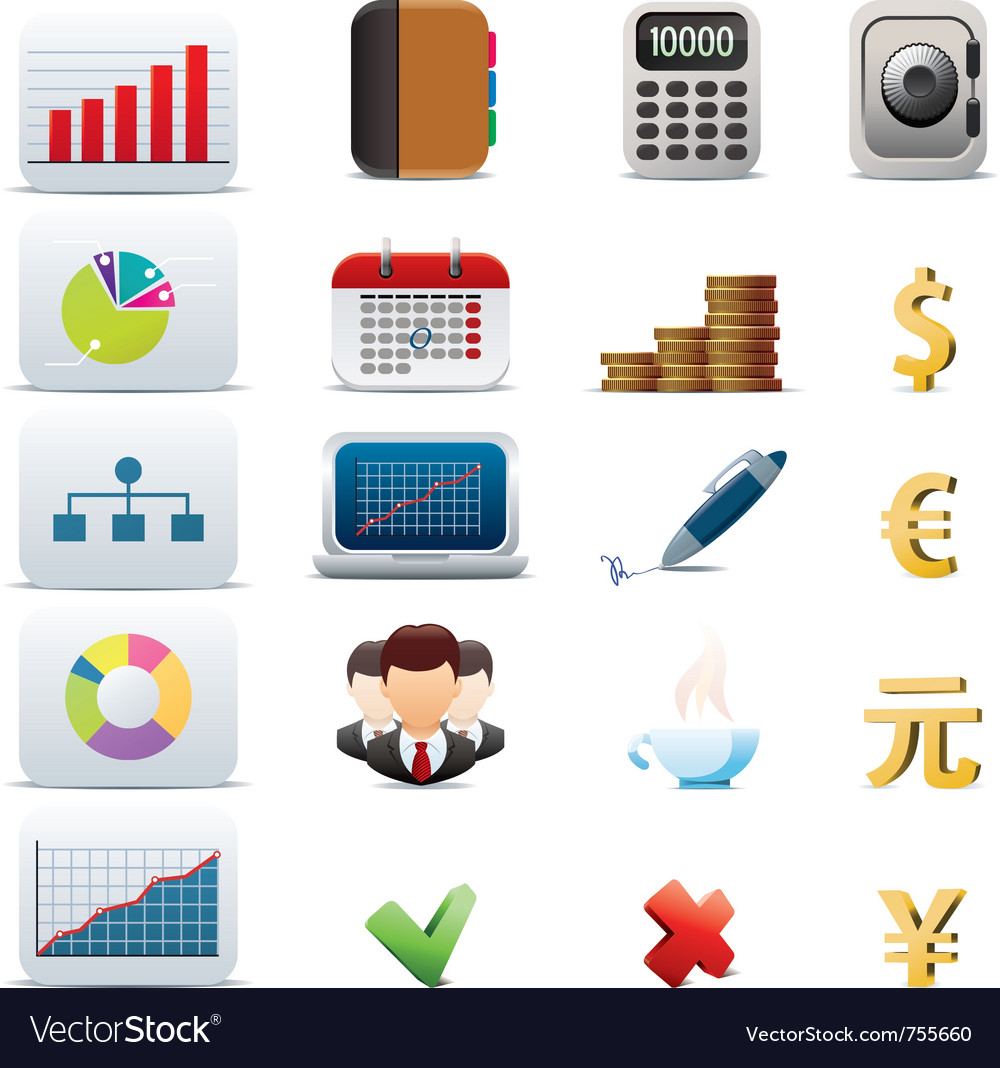 Business icon set vector | Price: 3 Credit (USD $3)