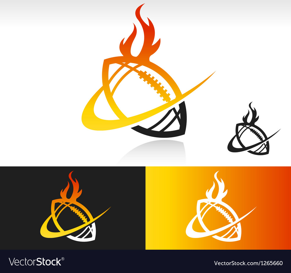 Fire swoosh football logo icon vector | Price: 1 Credit (USD $1)