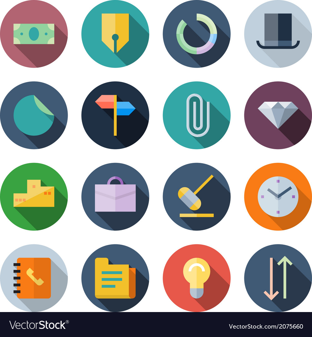 Flat design icons for business vector