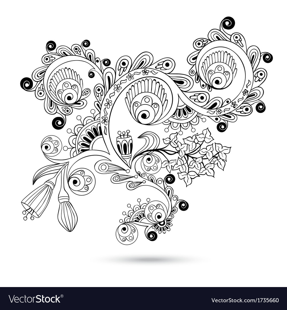 Flower pattern engraving scroll motif for vintage vector | Price: 1 Credit (USD $1)