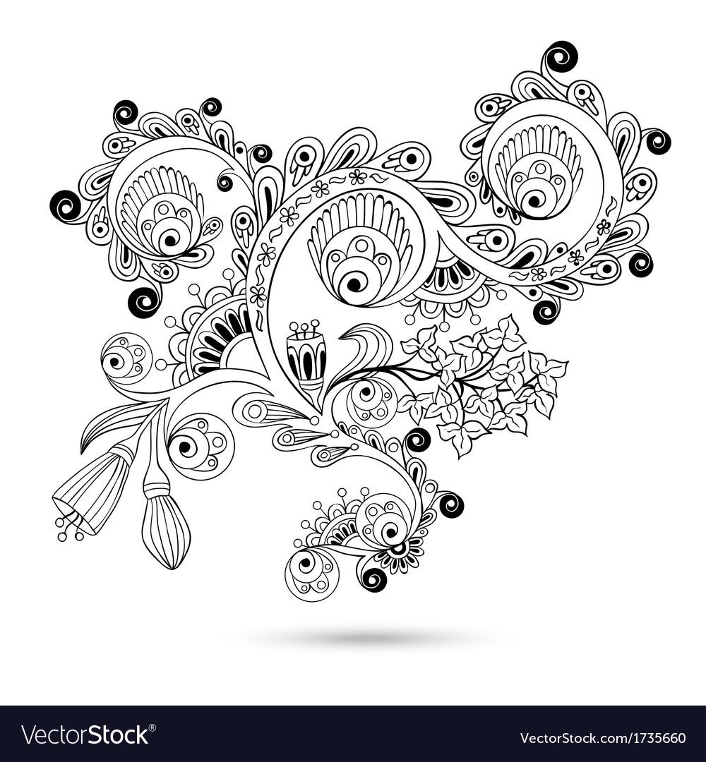 Flower pattern engraving scroll motif for vintage vector | Price: 1 Credit (USD $1)