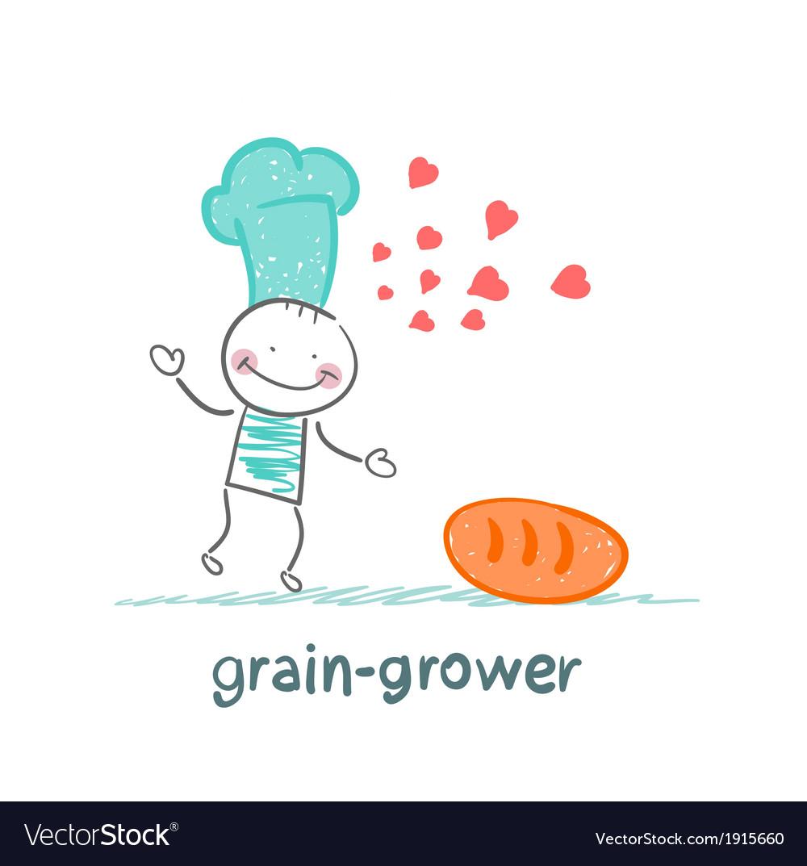 Grain grower reads bread recipe vector | Price: 1 Credit (USD $1)