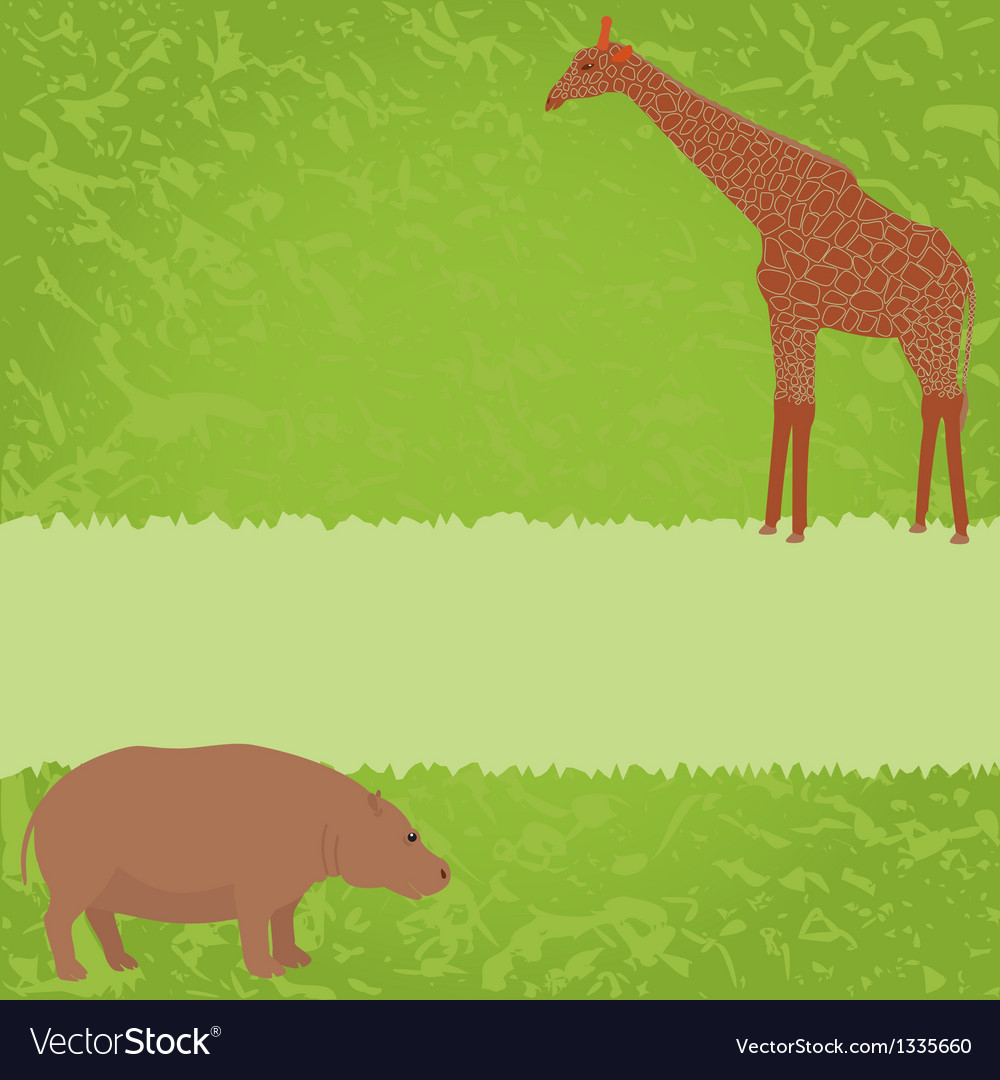 Green card with giraffe and hippo vector | Price: 1 Credit (USD $1)