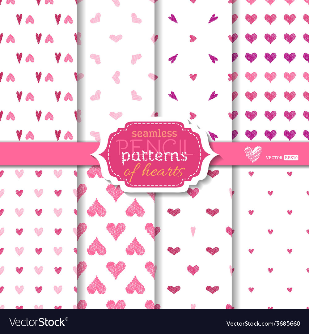 Light seamless pencil patterns of hearts vector | Price: 1 Credit (USD $1)