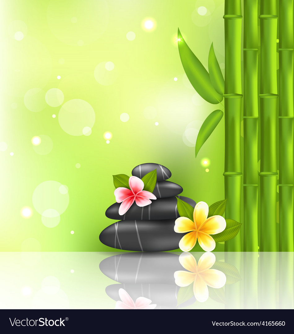 Meditative oriental background with frangipani vector | Price: 1 Credit (USD $1)