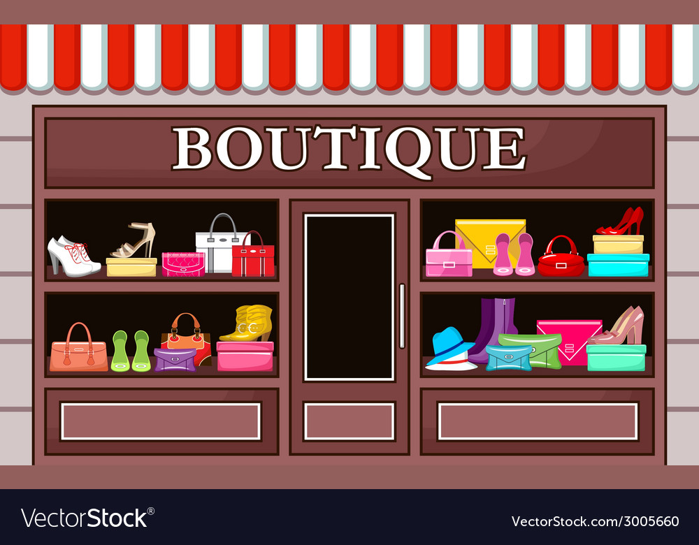 Picture of a fashion boutique with shoes and bags vector | Price: 1 Credit (USD $1)