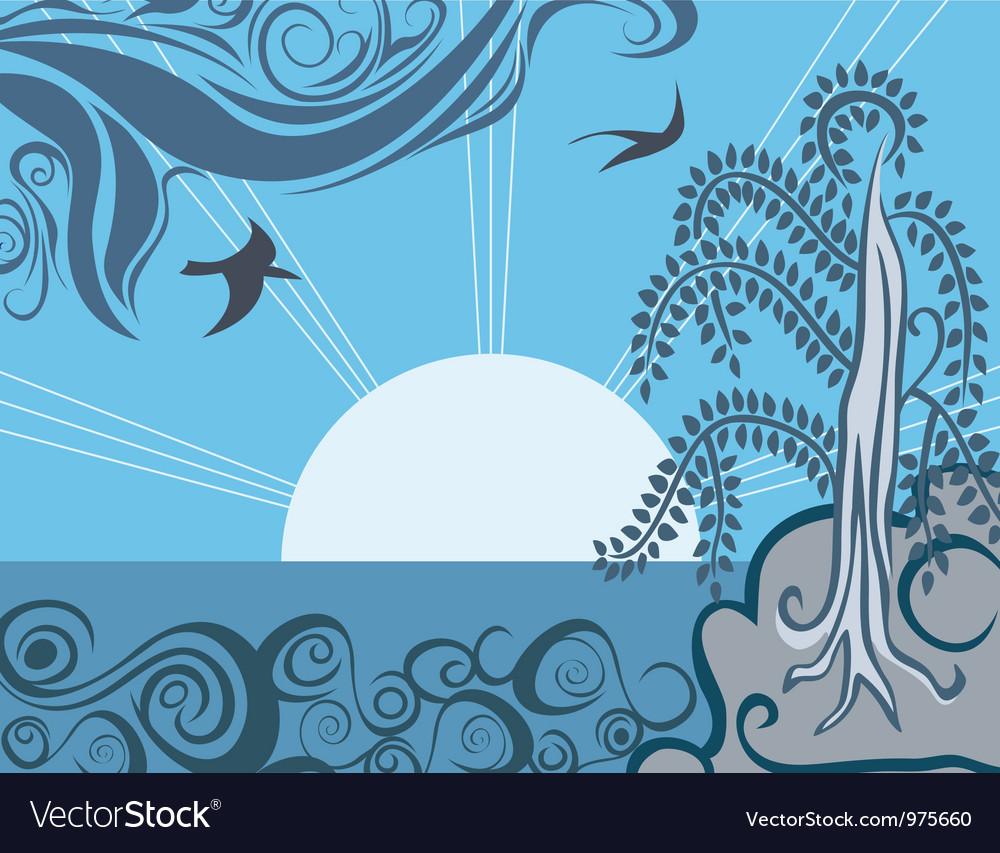 Retro sunrise vector | Price: 1 Credit (USD $1)