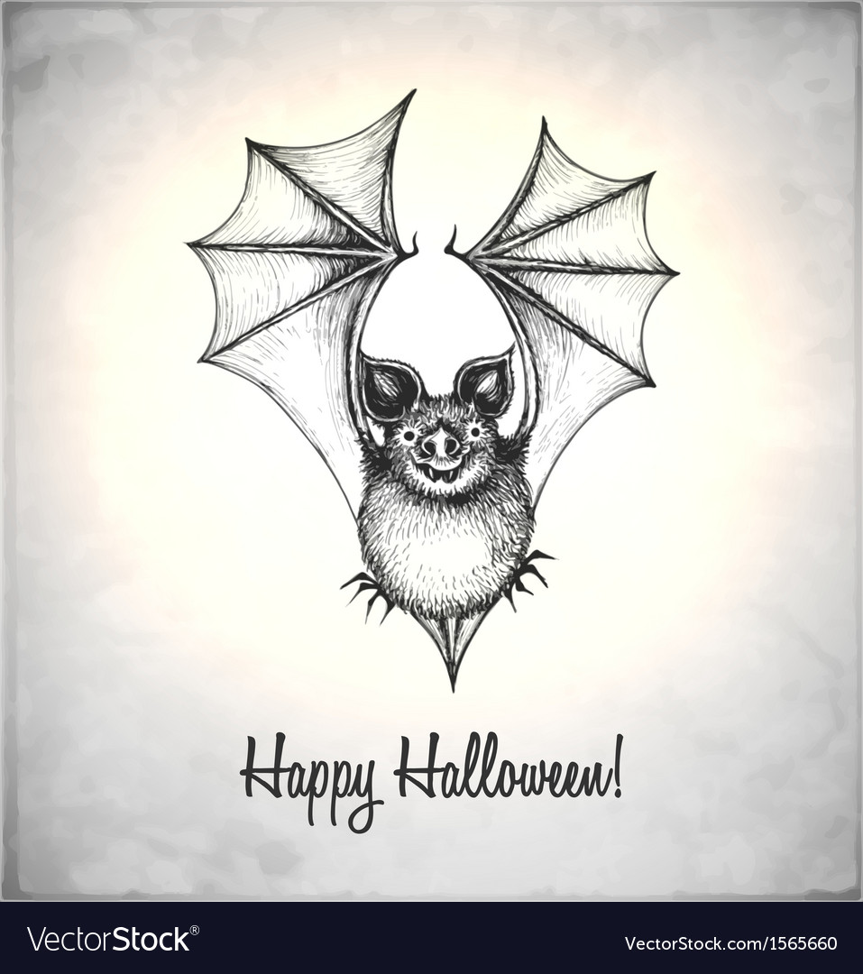 Scary bat in a sketch style vector | Price: 1 Credit (USD $1)