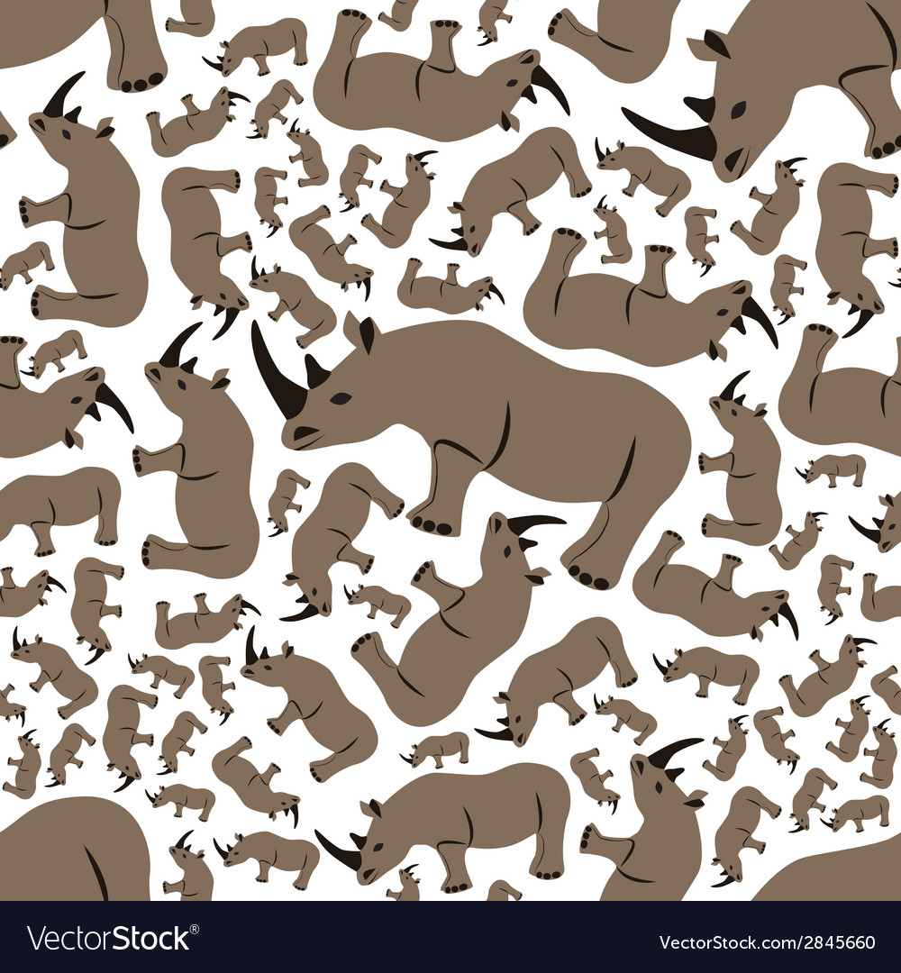 Seamless rhino pattern vector | Price: 1 Credit (USD $1)