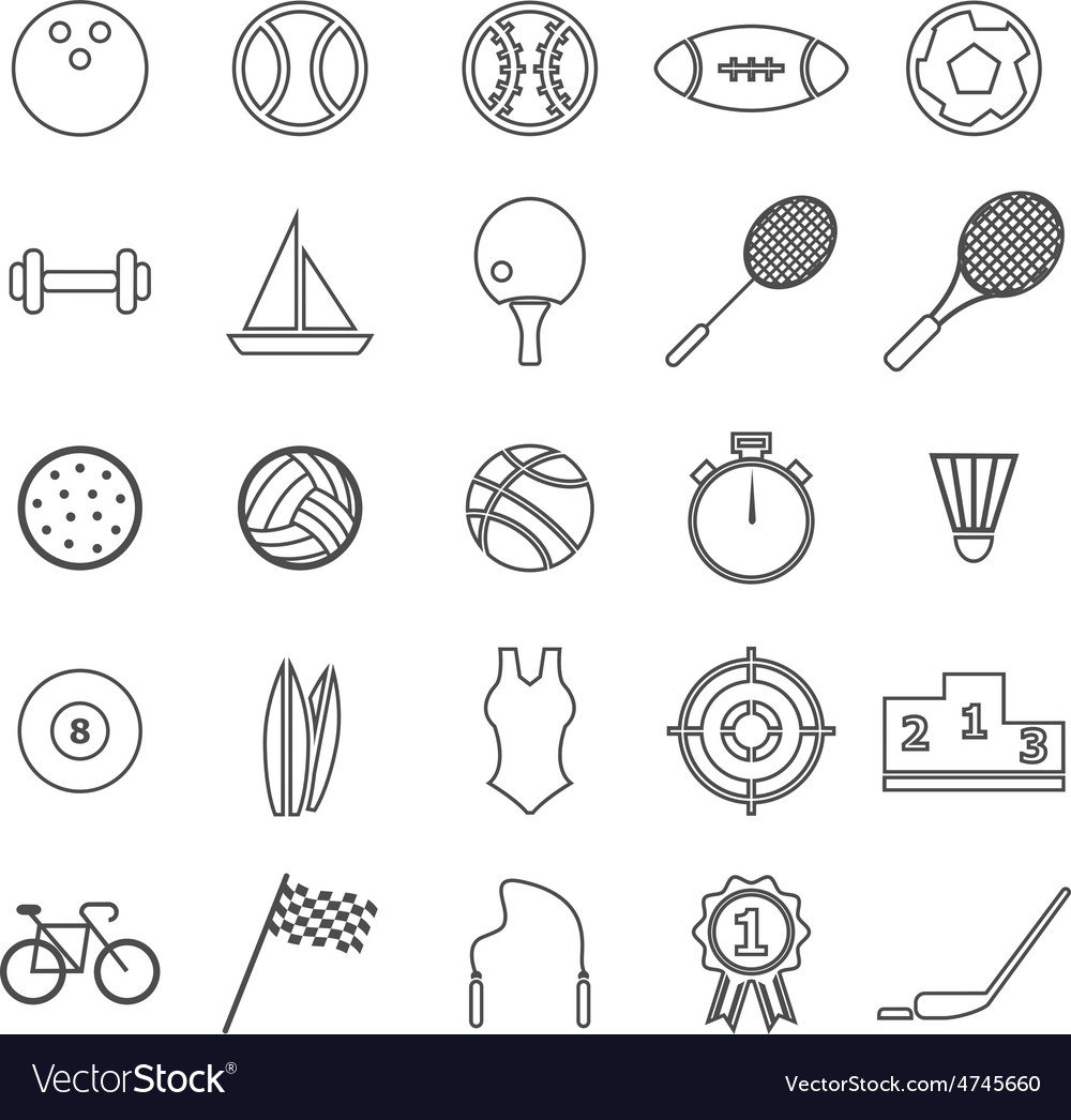 Sport line icons on white background vector | Price: 1 Credit (USD $1)