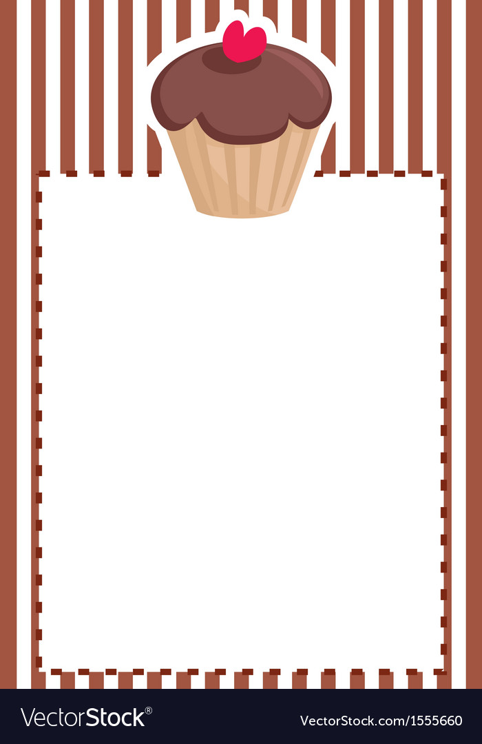 Sweet muffin cupcake baby shower brown invitation vector | Price: 1 Credit (USD $1)