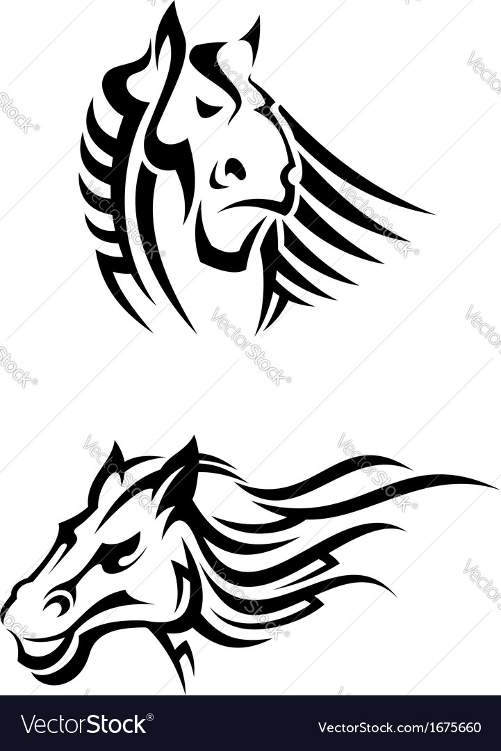 Tribal horses mascots vector | Price: 1 Credit (USD $1)