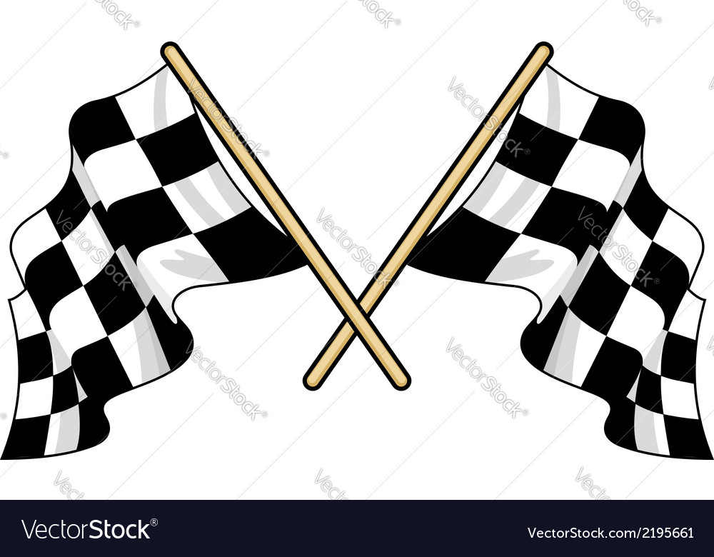 Crossed waving motor sport flags vector | Price: 1 Credit (USD $1)