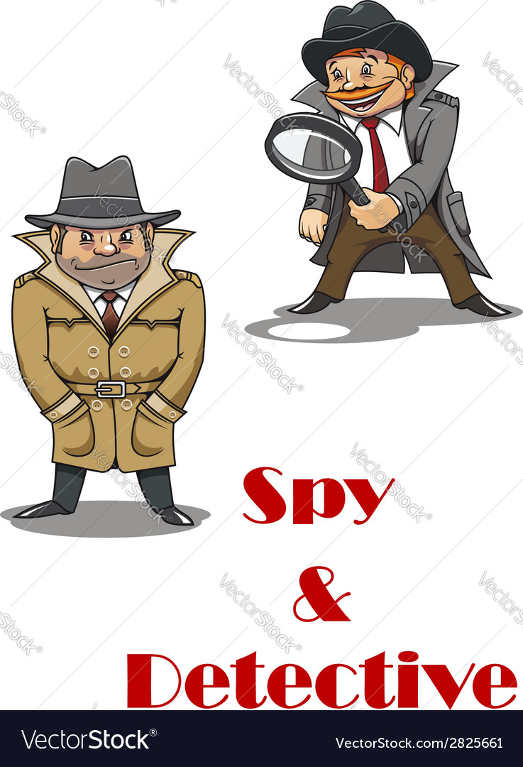 Detective and spy man cartoon characters vector | Price: 1 Credit (USD $1)