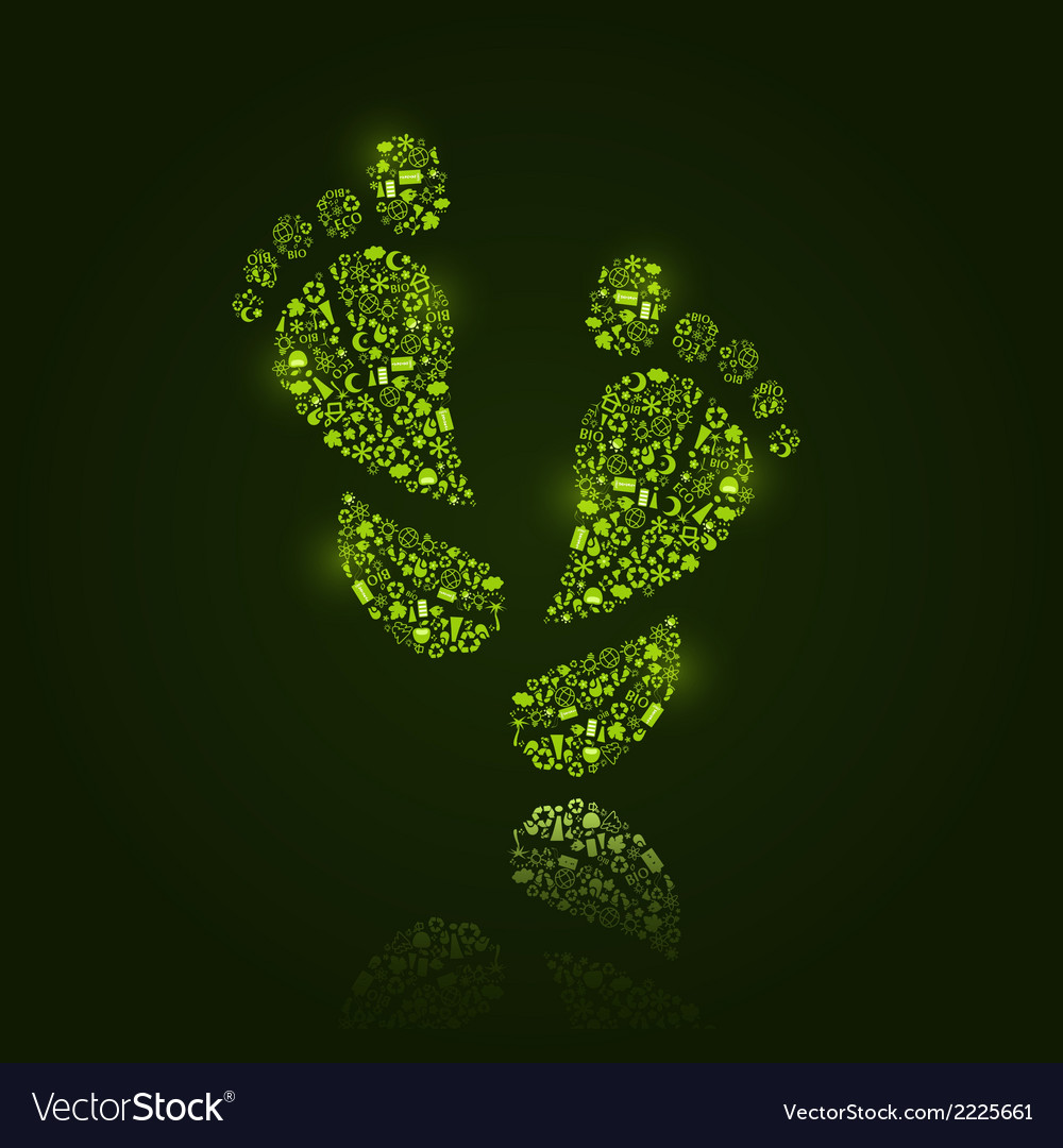 Go green eco pattern in foot silhouette vector | Price: 1 Credit (USD $1)