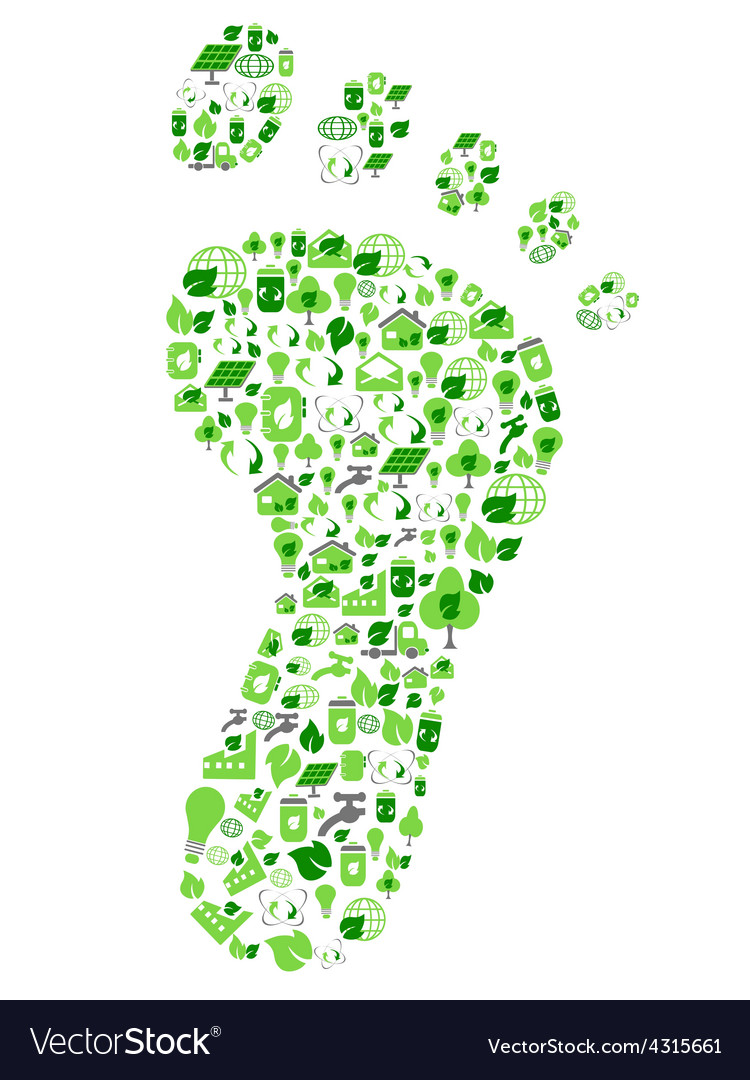 Green eco friendly footprint filled with ecology vector | Price: 1 Credit (USD $1)