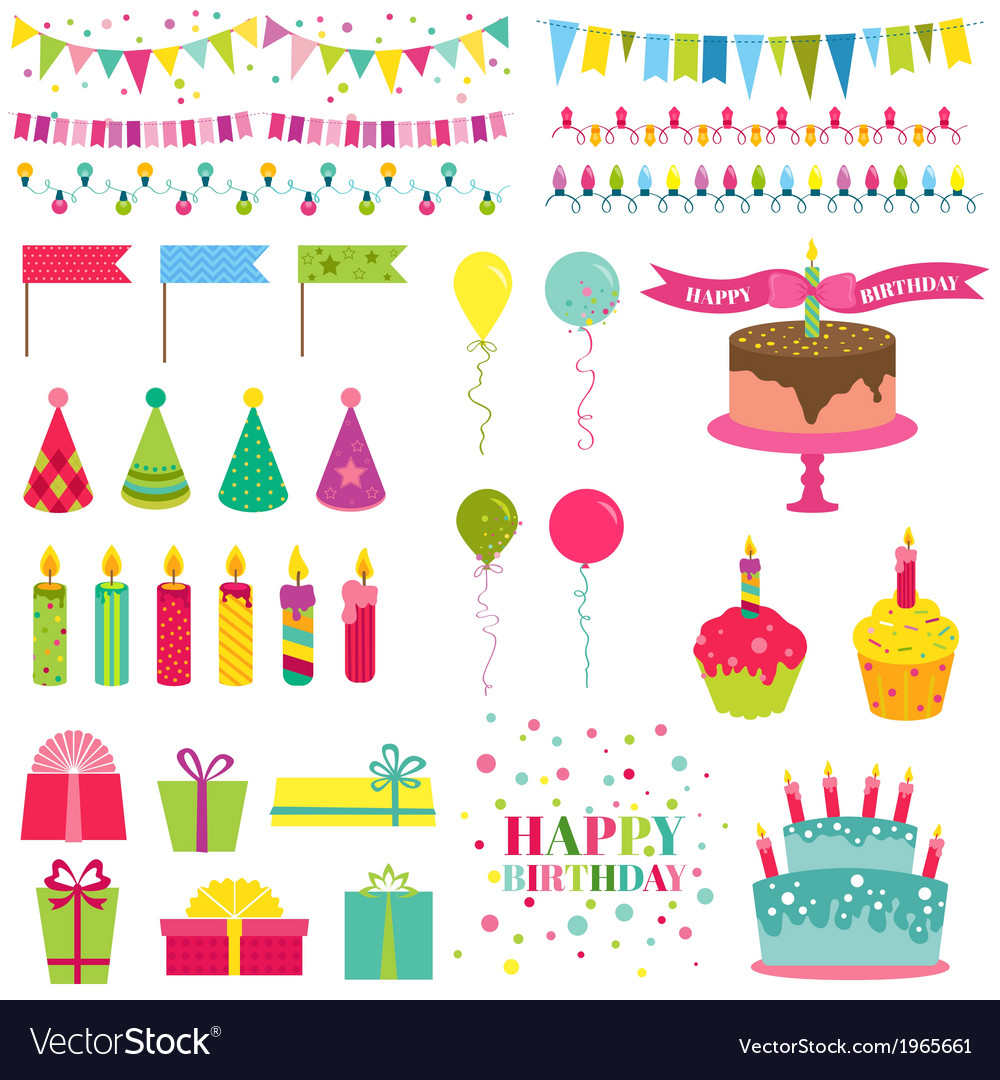 Happy birthday and party set vector | Price: 1 Credit (USD $1)