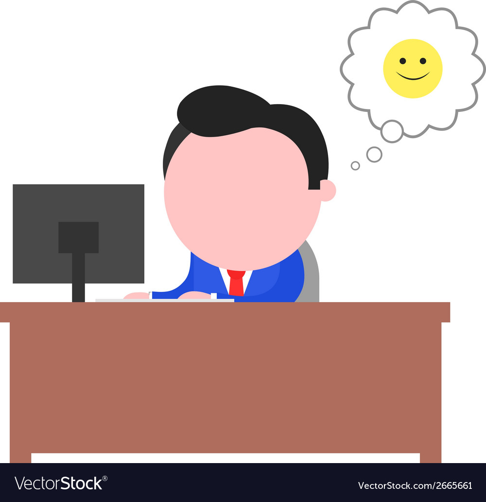 Happy businessman working behind desk vector | Price: 1 Credit (USD $1)