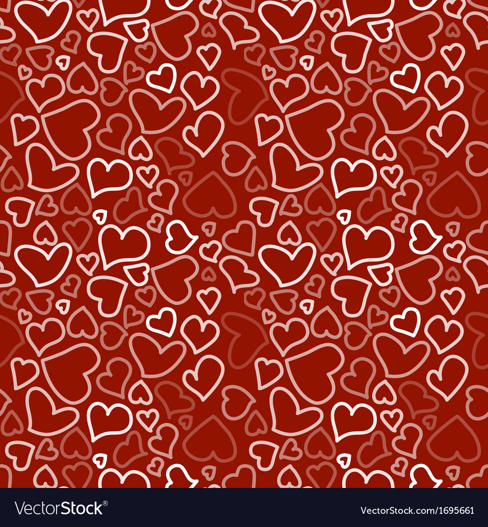Seamless background with sketchy hearts vector | Price: 1 Credit (USD $1)