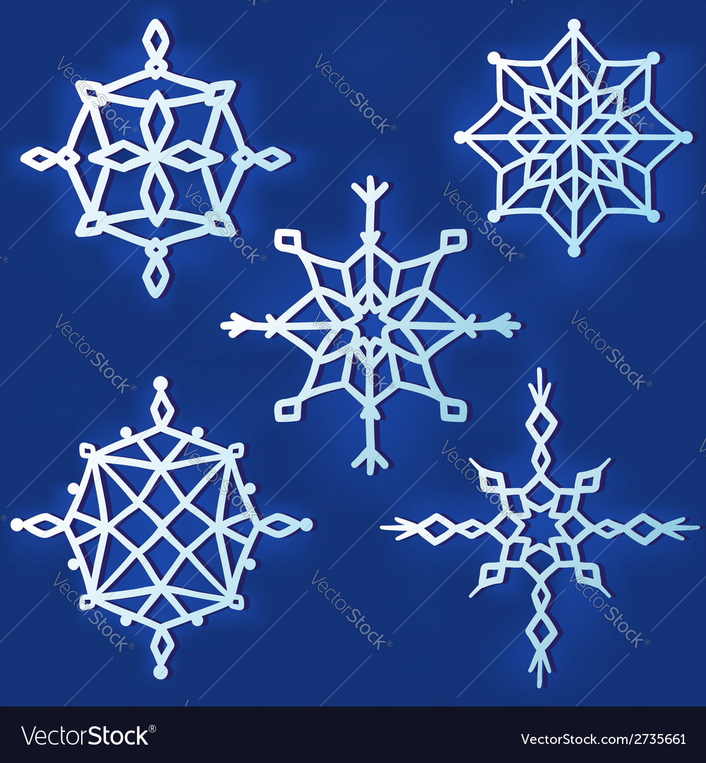 Set of simple snowflakes vector | Price: 1 Credit (USD $1)