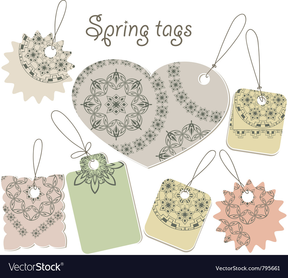 Spring tags with floral patterns vector | Price: 1 Credit (USD $1)