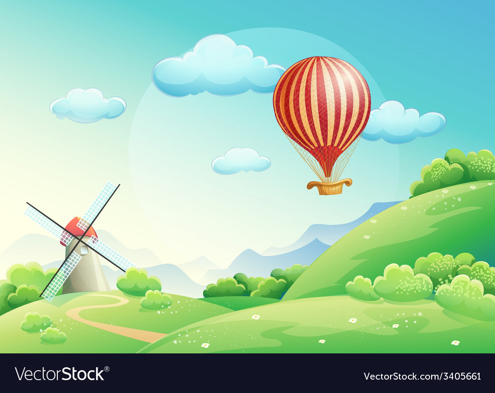 Summer fields with a mill and a balloon in the s vector | Price: 5 Credit (USD $5)