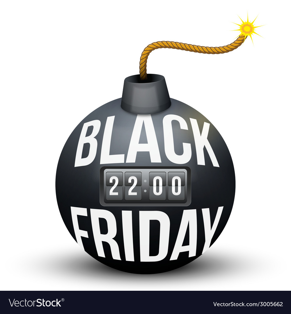 Bomb about to blast with black friday sales tag vector | Price: 1 Credit (USD $1)