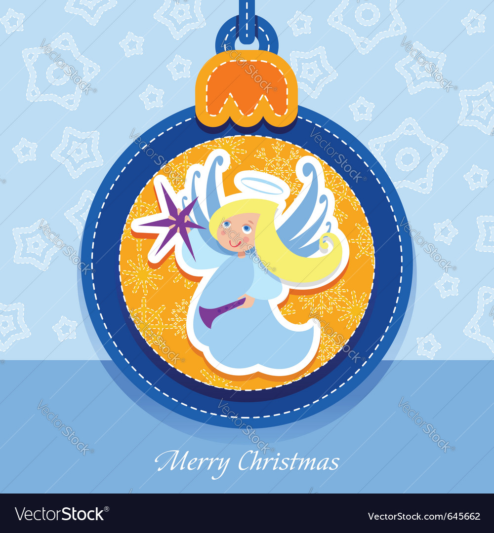 Christmas ball postcard angel vector | Price: 1 Credit (USD $1)