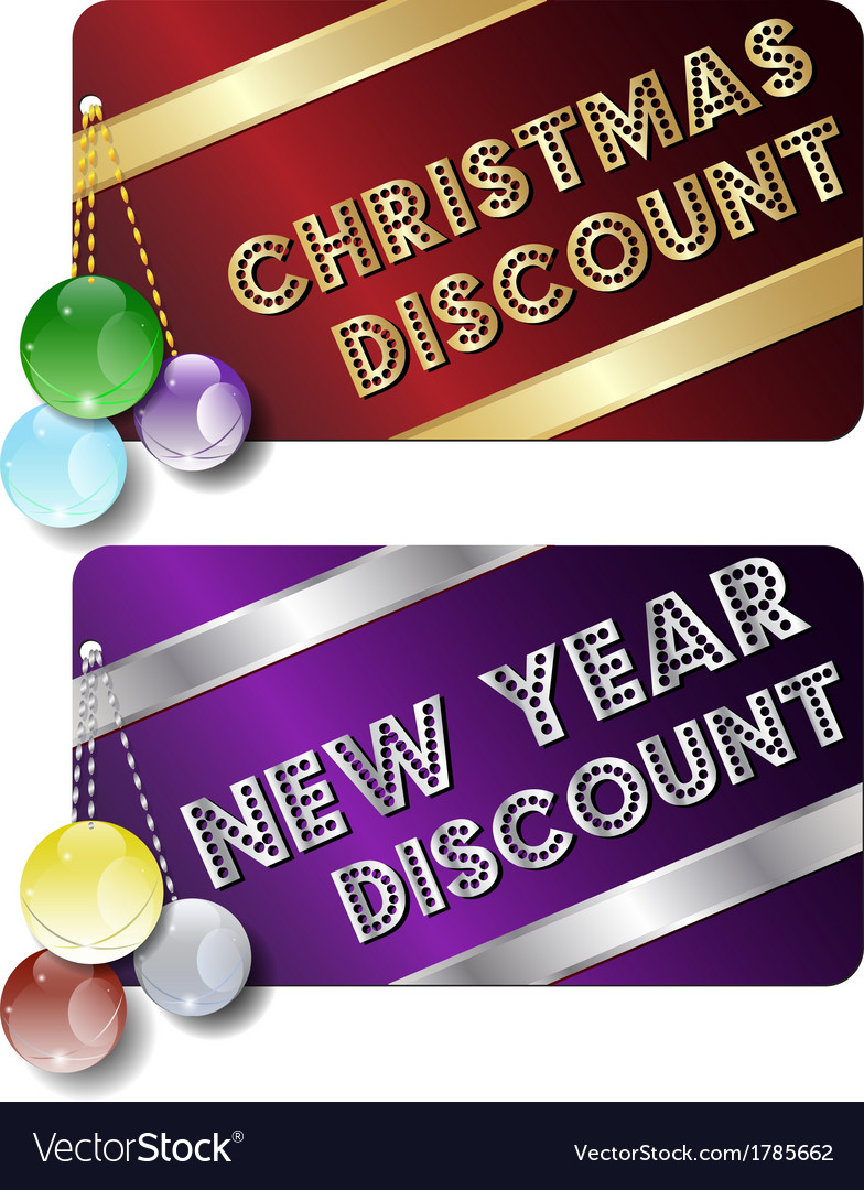Christmas new year discount cards vector | Price: 1 Credit (USD $1)