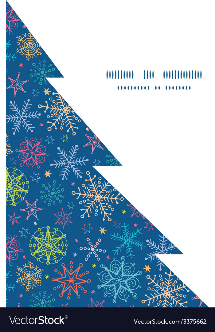 Colorful doodle snowflakes christmas tree vector   Price: 1 Credit (USD $1)