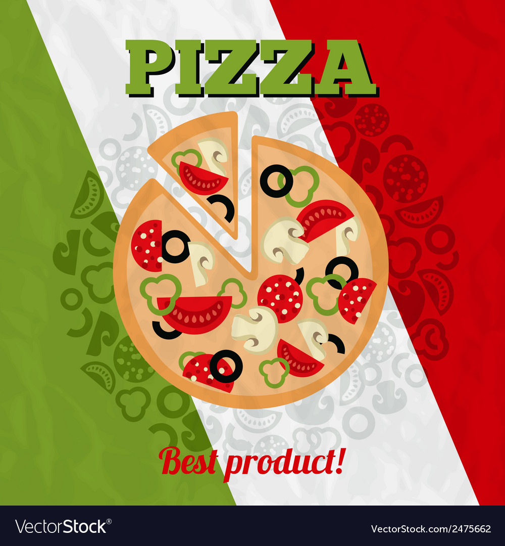 Italy pizza poster vector | Price: 1 Credit (USD $1)