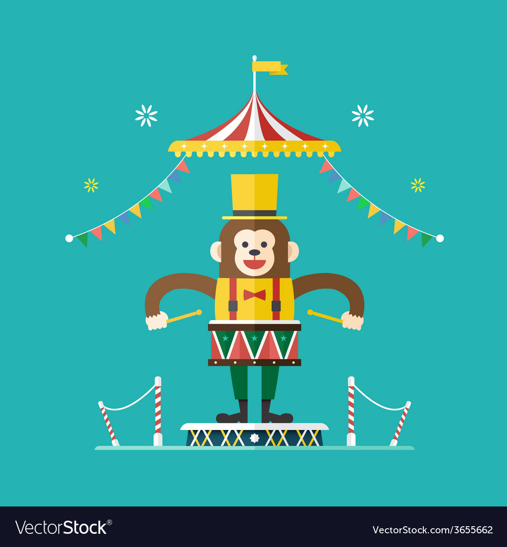 Monkey drummer circus theme vector | Price: 1 Credit (USD $1)