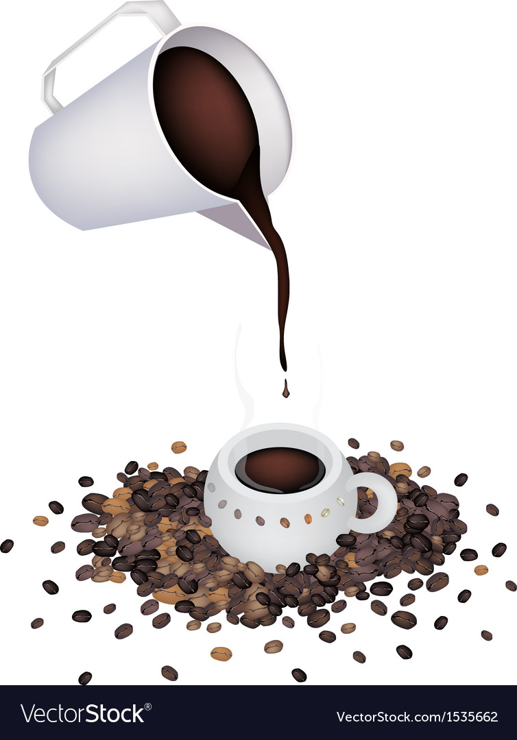 Pour a delicious hot coffee by measure cup vector | Price: 1 Credit (USD $1)