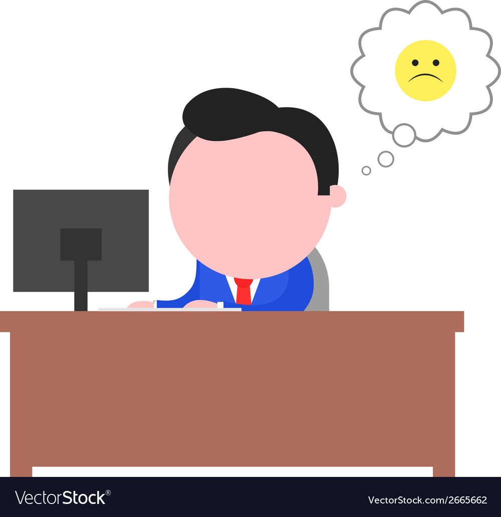 Sad businessman working behind desk vector | Price: 1 Credit (USD $1)
