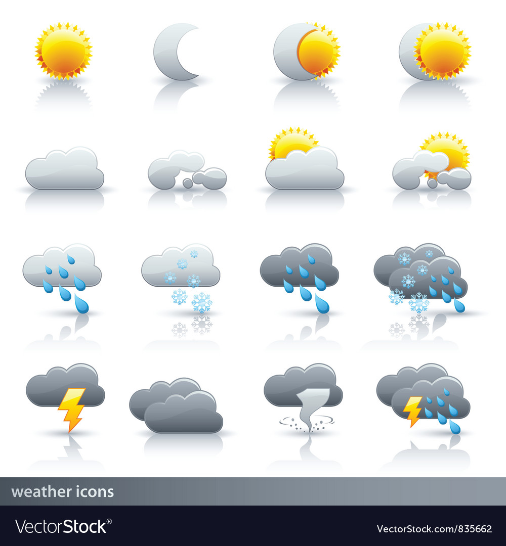 Weather icon set - meteorology vector | Price: 1 Credit (USD $1)