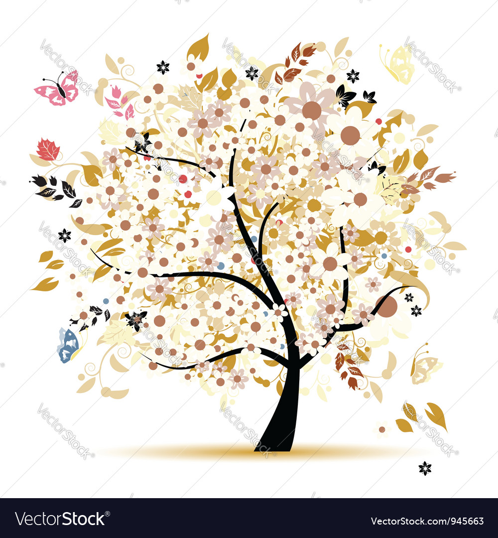 Beautiful floral tree for your design vector   Price: 1 Credit (USD $1)