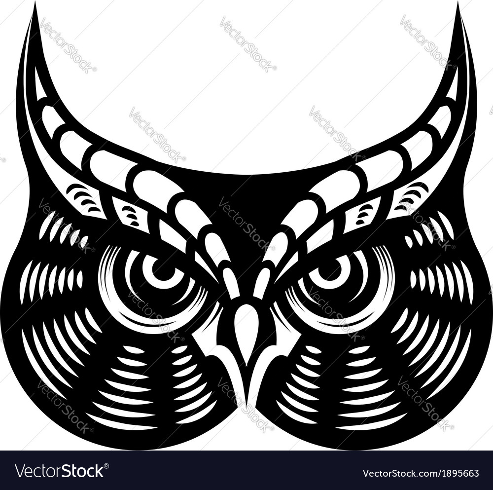 Fierce looking horned owl vector | Price: 1 Credit (USD $1)