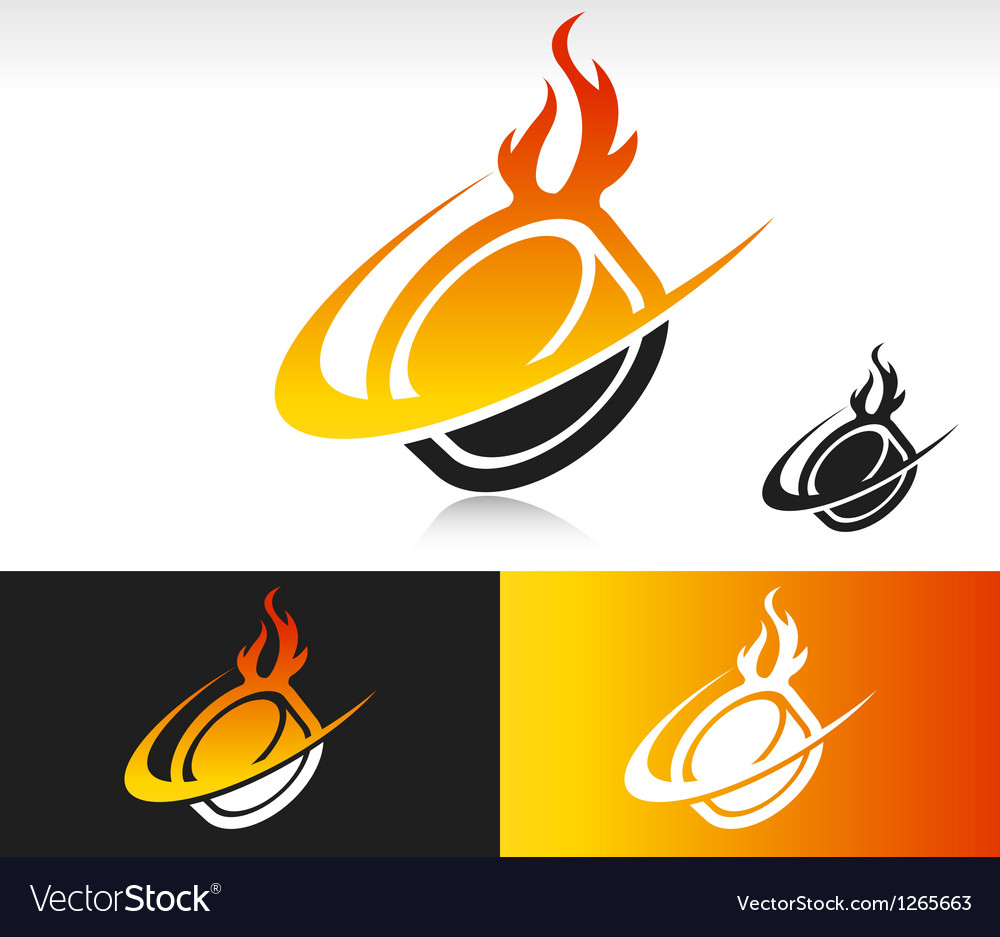 Fire swoosh hockey puck logo icon vector | Price: 1 Credit (USD $1)