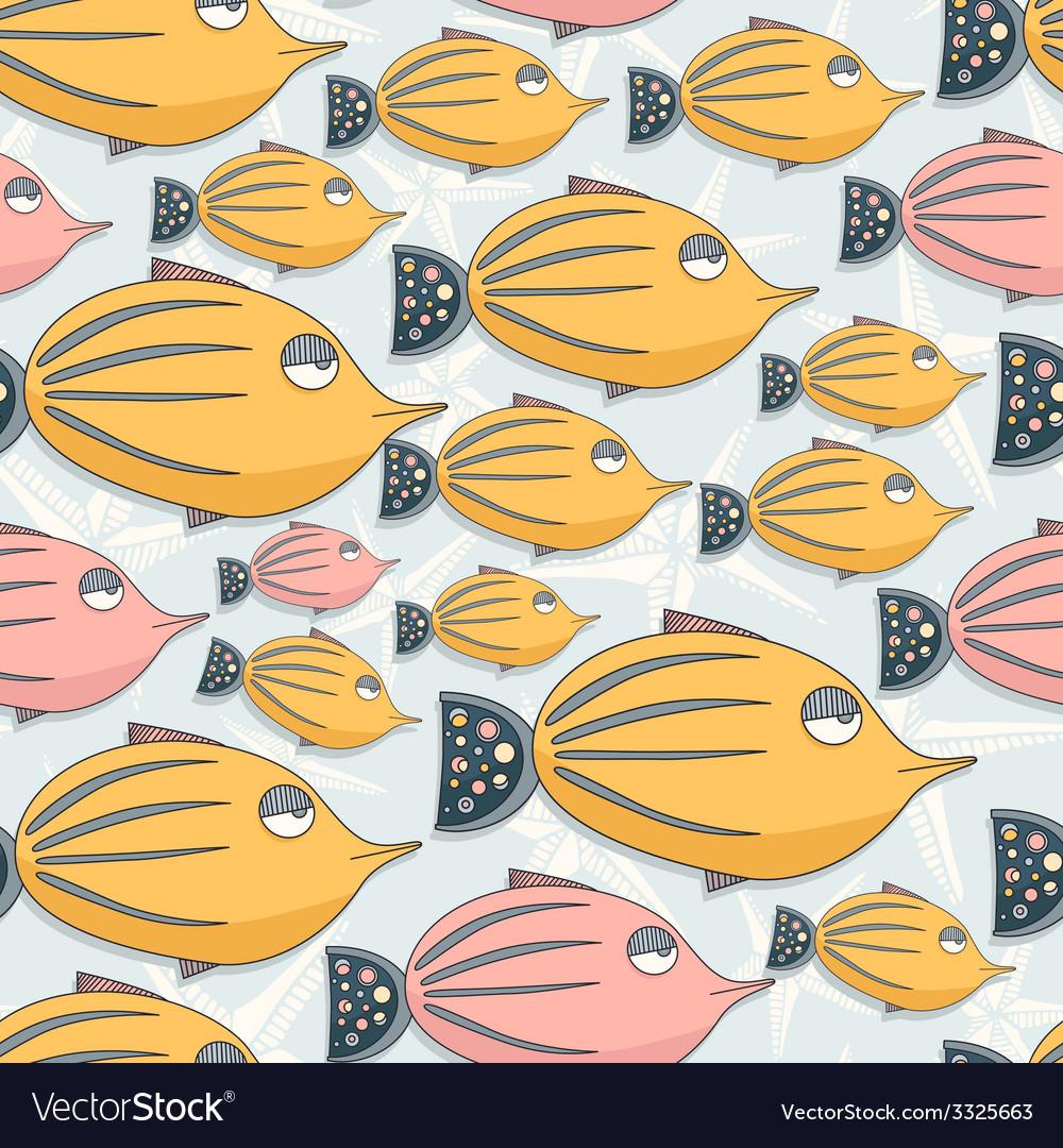 Fish seamless pattern vector | Price: 1 Credit (USD $1)
