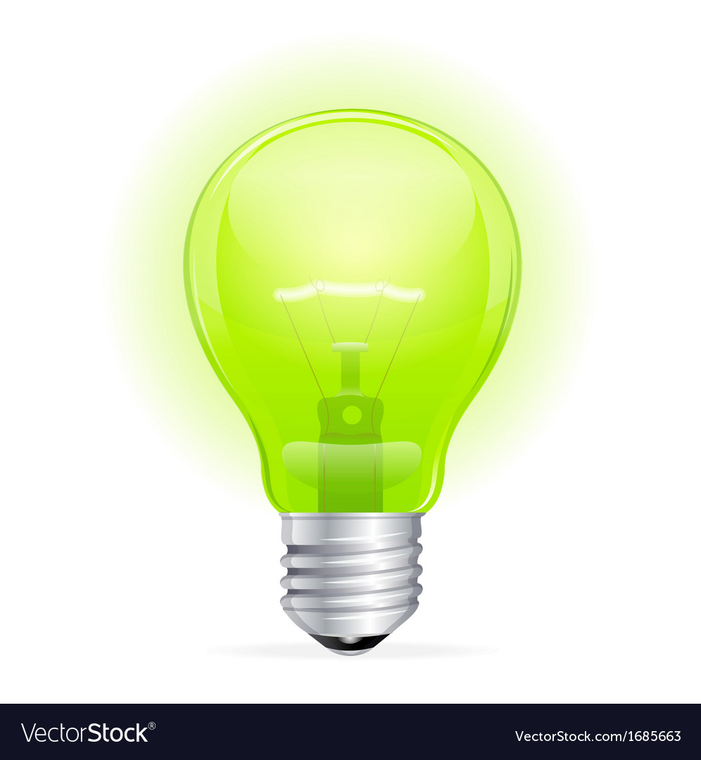 Green light bulb isolated on white vector | Price: 1 Credit (USD $1)