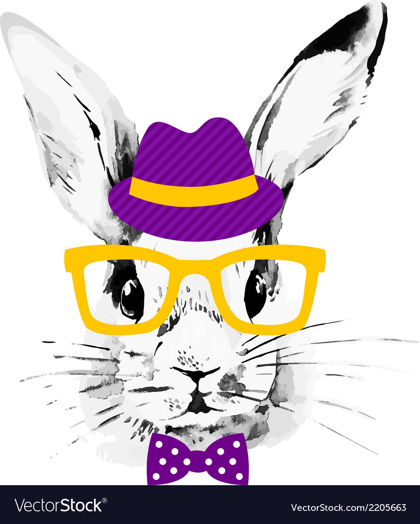 Hipster rabbit vector | Price: 1 Credit (USD $1)