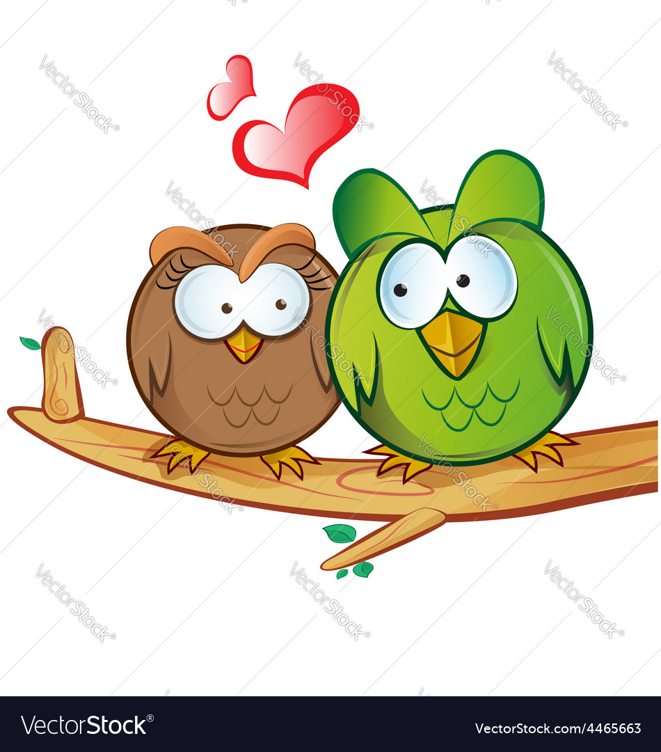 Owl cartoon in love vector | Price: 1 Credit (USD $1)