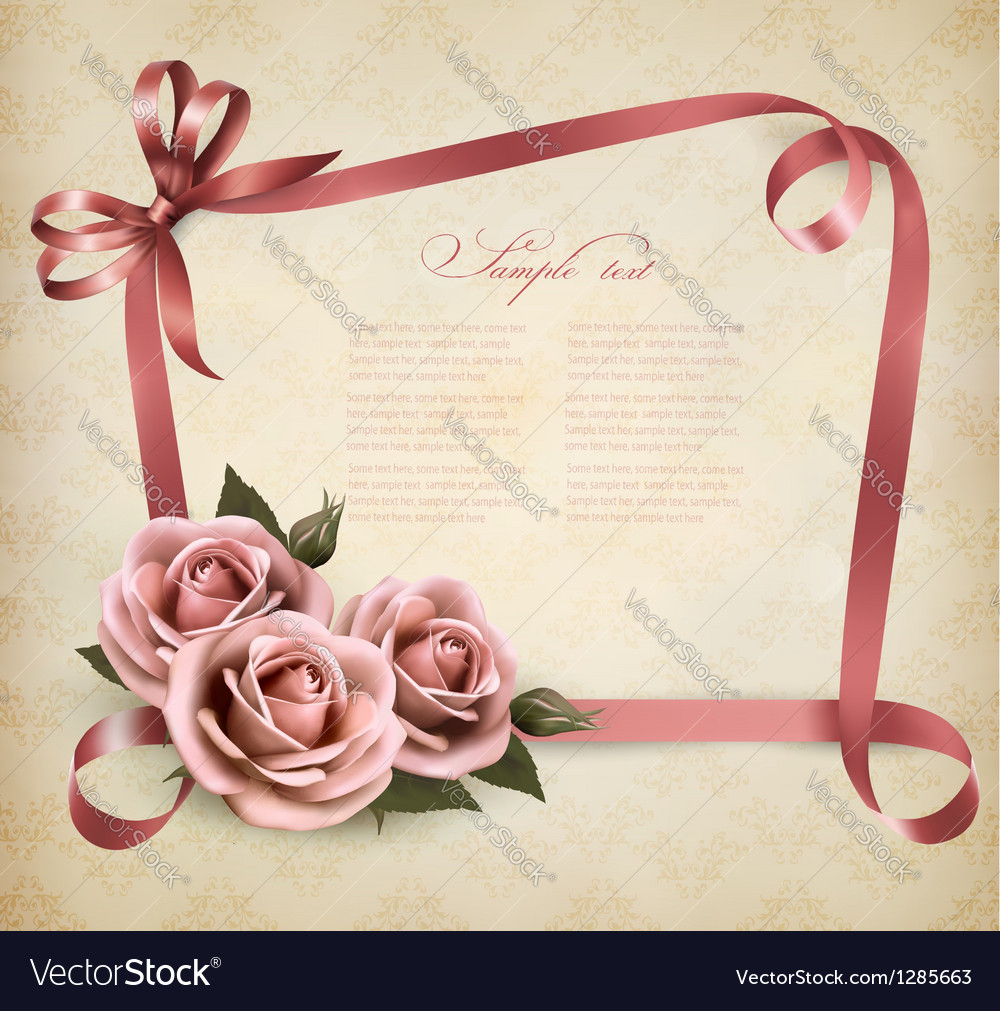 Retro holiday background with pink roses and vector | Price: 3 Credit (USD $3)