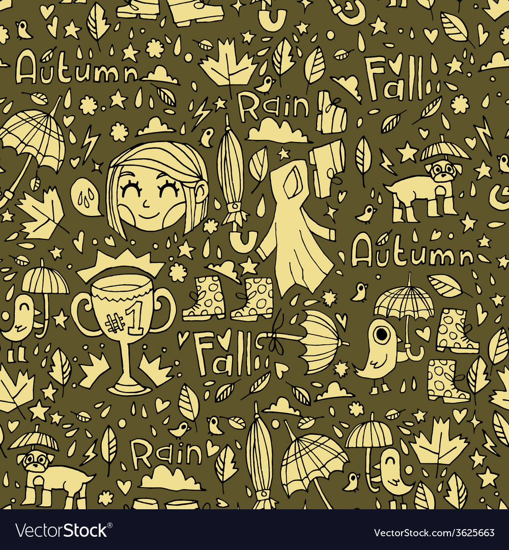Retro vintage cute autumn pattern vector | Price: 1 Credit (USD $1)