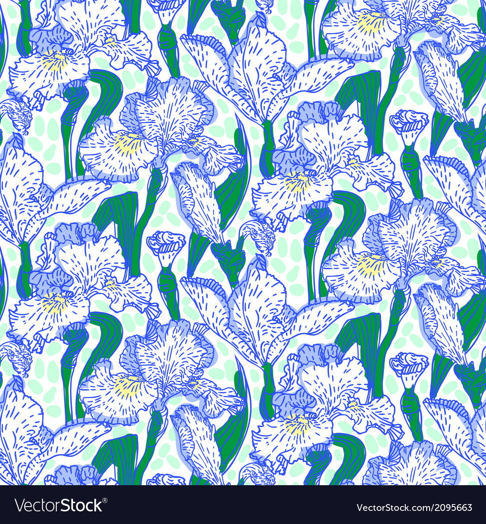 Vintage pattern with field of iris flowers vector | Price: 1 Credit (USD $1)