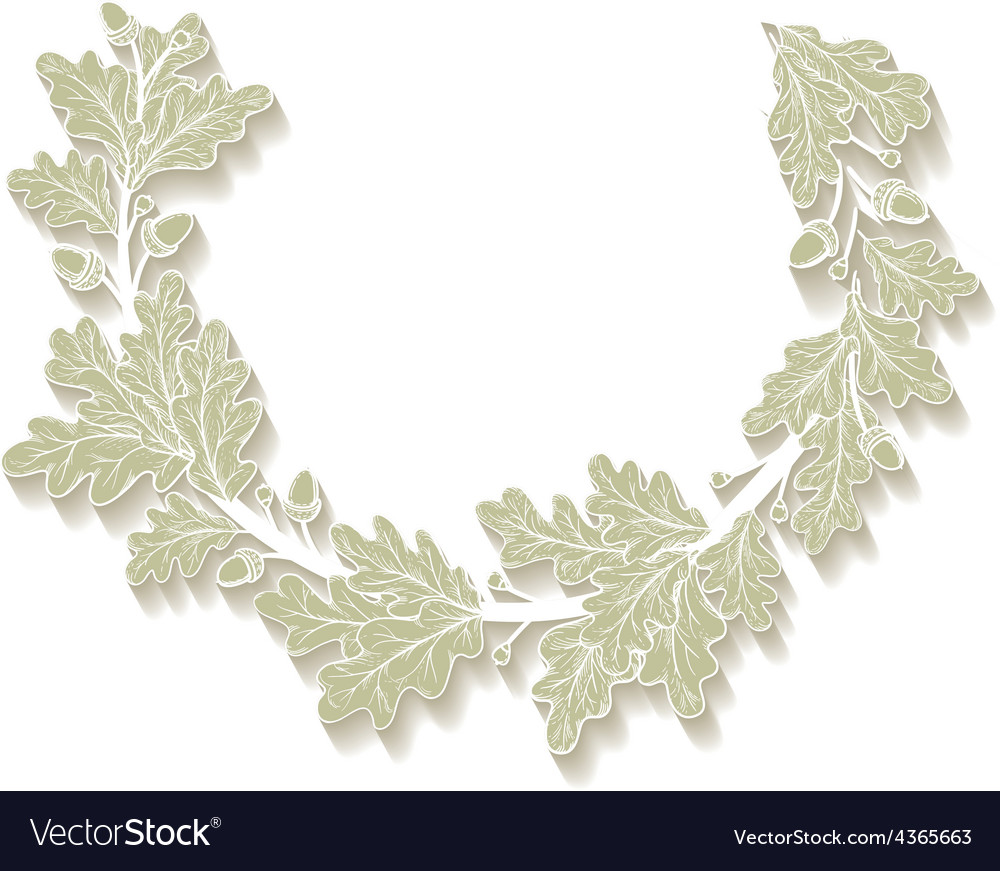 White oak wreath vector | Price: 1 Credit (USD $1)