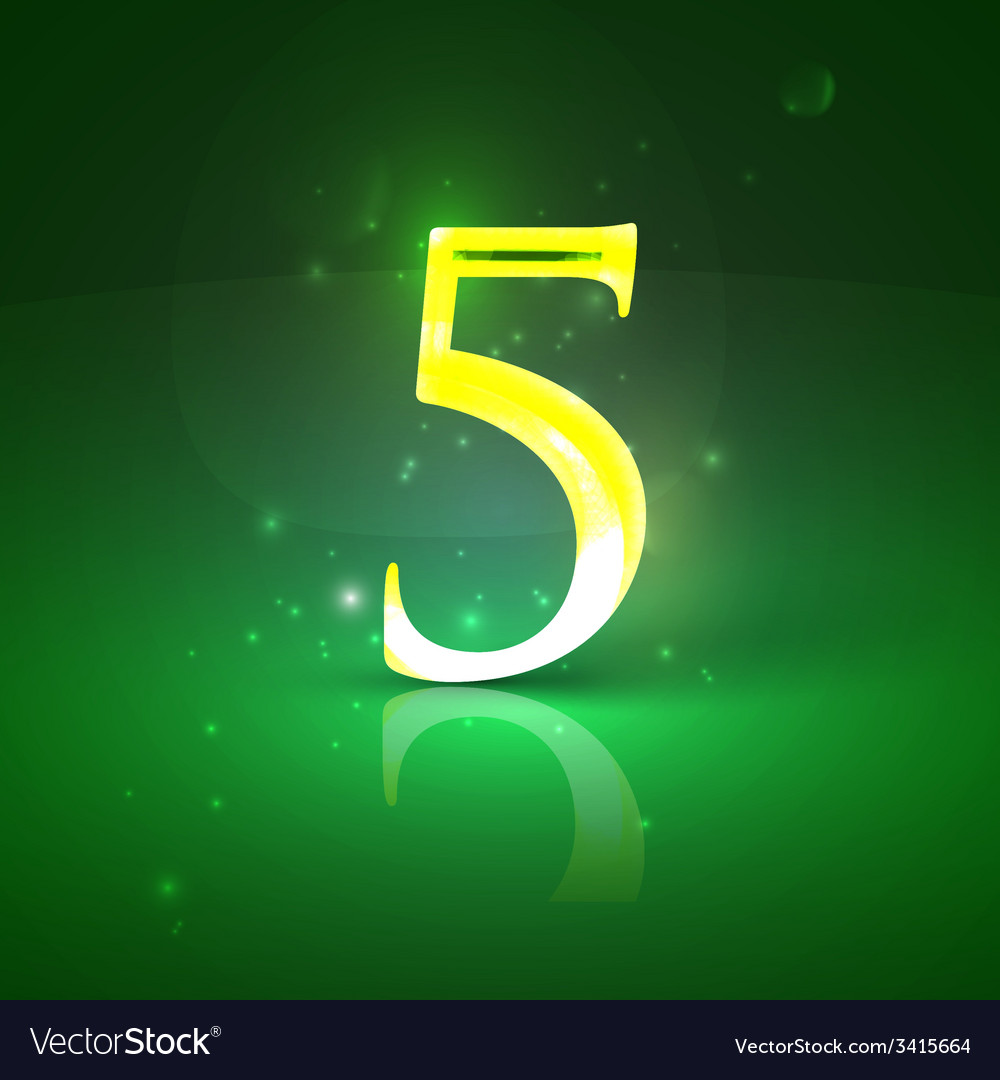 5 green glowing number five vector | Price: 1 Credit (USD $1)