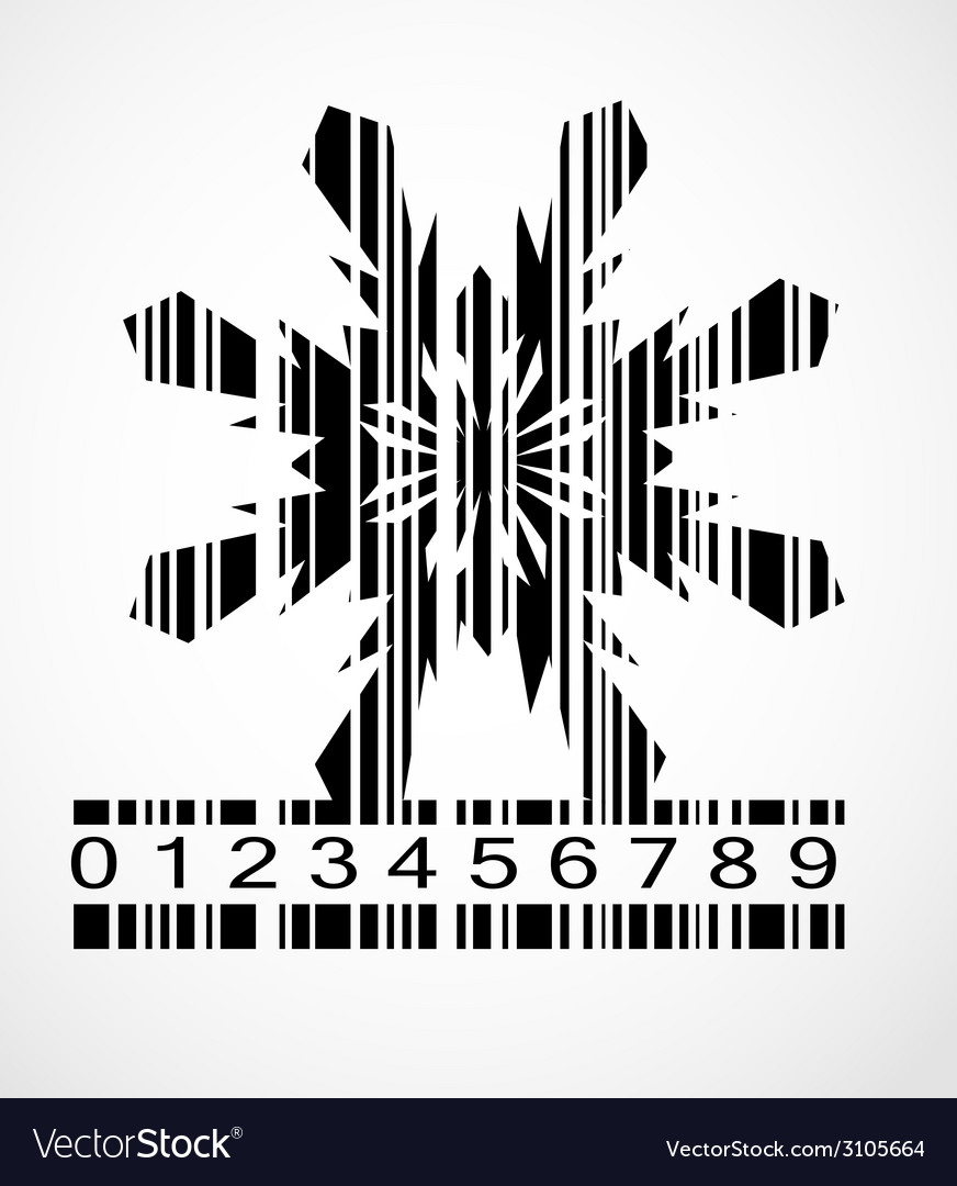 Barcode snowflake image vector | Price: 1 Credit (USD $1)