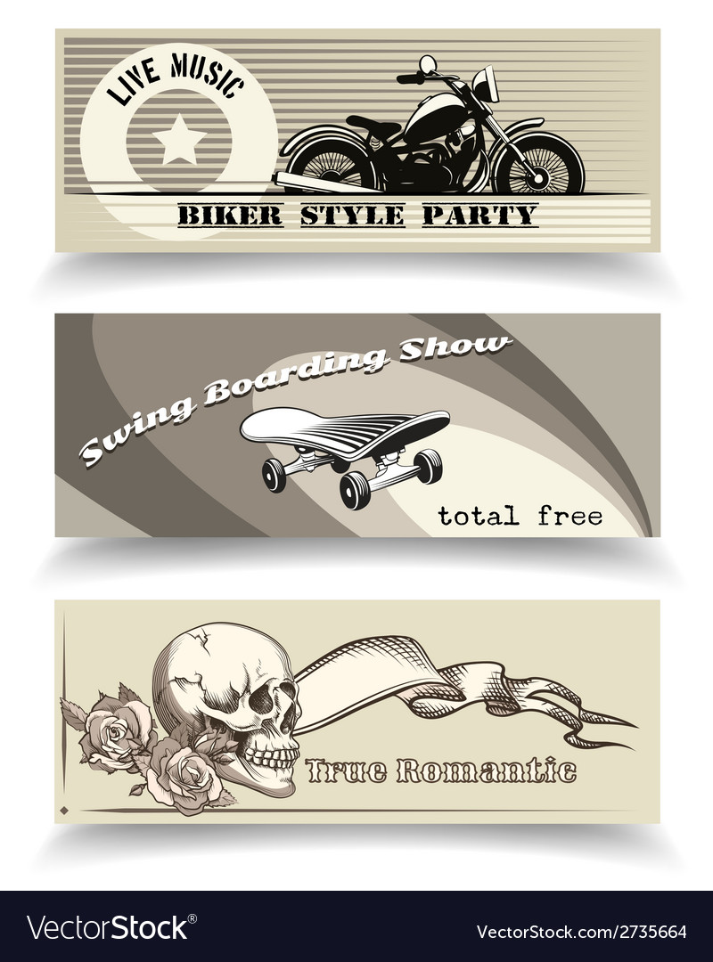 Biker banners vector | Price: 1 Credit (USD $1)