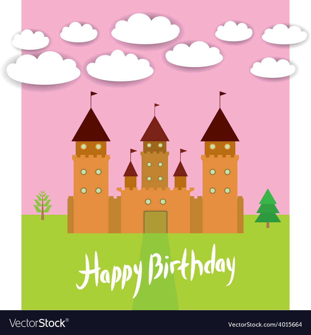 Card with castle princess fairytale landscape vector | Price: 1 Credit (USD $1)